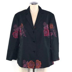 BASLER Plus Size Black Floral Jacquard Blazer #BG4